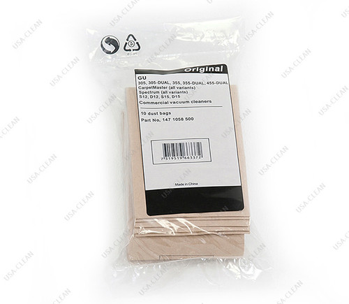 Paper vacuum bags (pkg of 10 with 2 prefilters) 272-9248