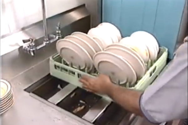Place rack at entrance to dishwasher.