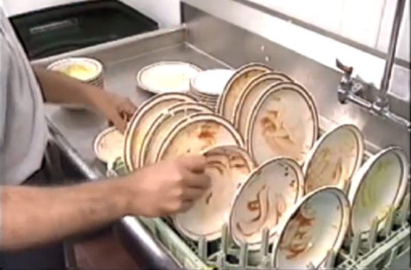 Sort dishes by size in rack.