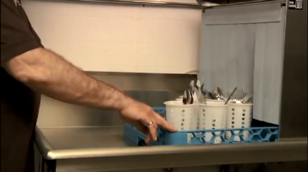 Sort flatware into baskets with handles down and run through a second time.