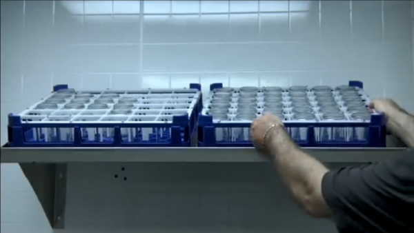 Place glasses into proper rack.