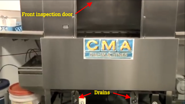 Open front inspection door and open drains.