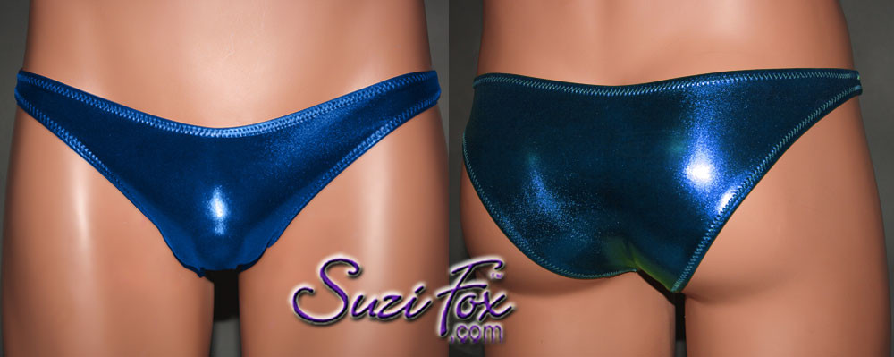 Mens Smooth Front, Wide Strap, Rio Bikini - shown in Royal Blue Metallic Foil Spandex, custom made by Suzi Fox. • Available in gold, silver, copper, gunmetal, turquoise, Royal blue, red, green, purple, fuchsia, black faux leather/rubber Metallic Foil coated spandex or any fabric on this site. • Standard front height is 6 inches (15.24 cm). • Available in 4, 5, 6, 7, 8, 9, and 10 inch front heights. • Wear it as swimwear OR underwear! • Made in the U.S.A.