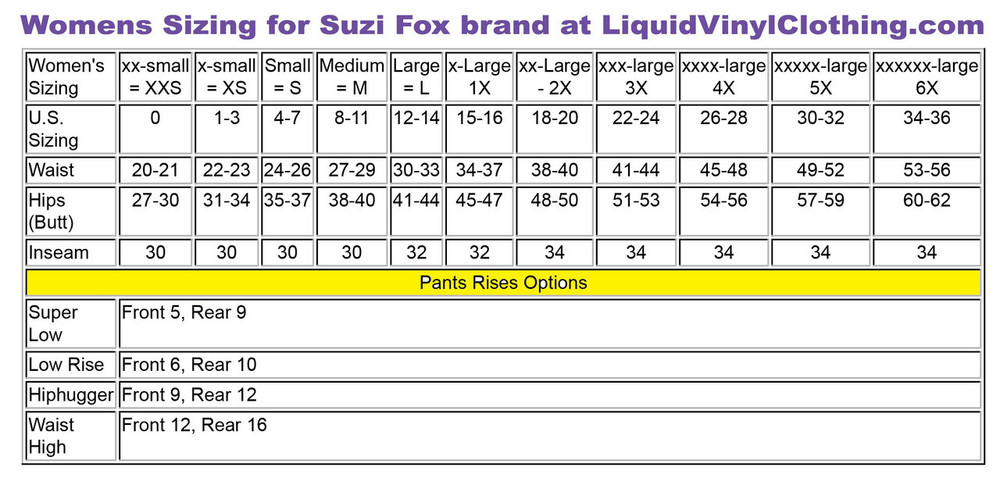 Womens standard sizing chart.
