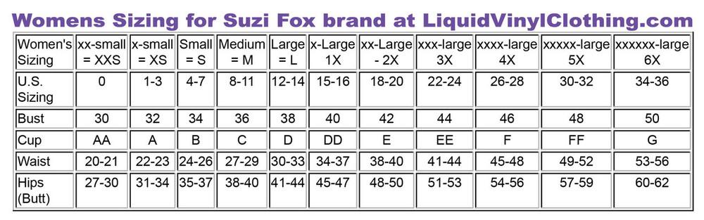 Standard dress sizing chart.