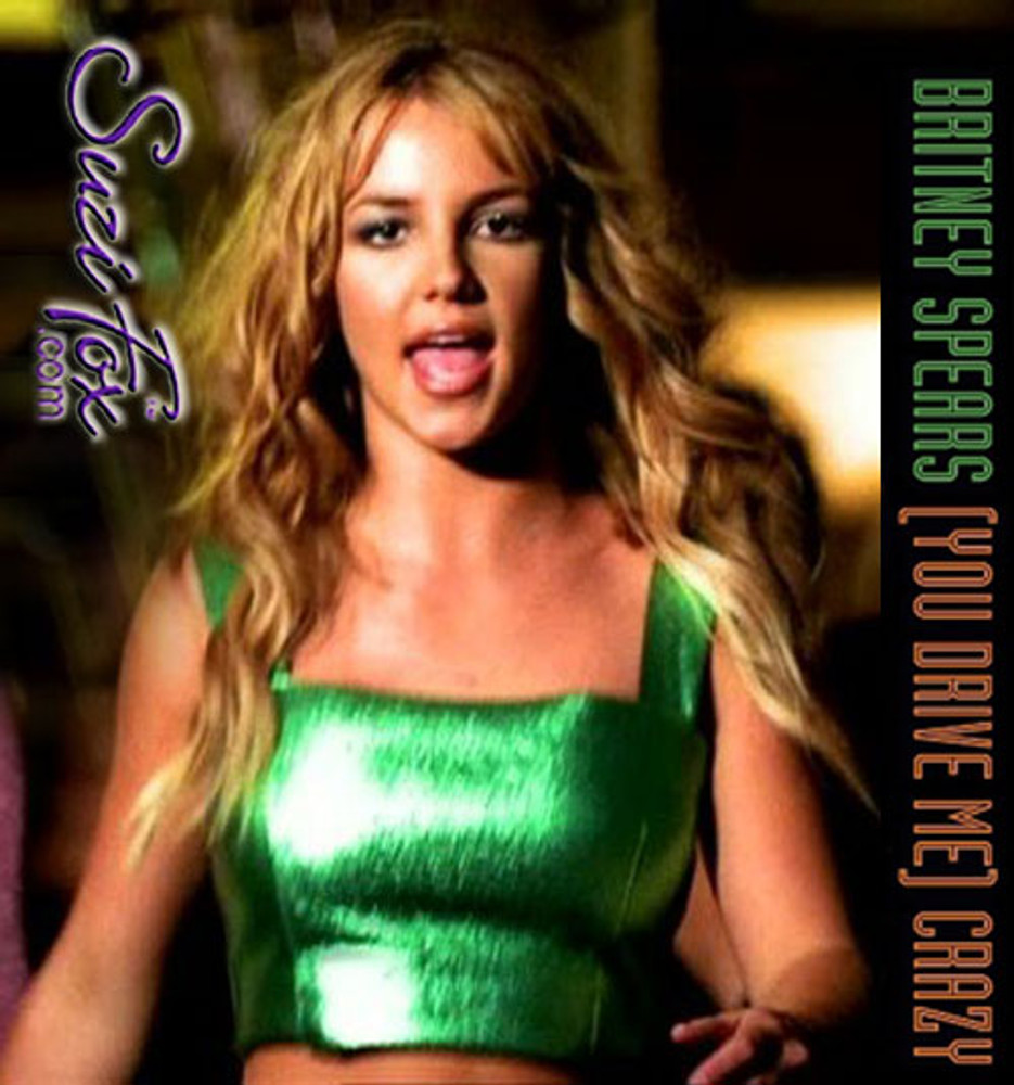 """Tank Top like Britney Spears square neck top in the """"You Drive Me Crazy"""" video in metallic green Foil coated Spandex, custom made by Suzi Fox. Custom made to your measurements! Available in gold, silver, copper, gunmetal, turquoise, Royal blue, red, green, purple, fuchsia, black faux leather/rubber, and any other fabric on this site. • Plus size available. • Worldwide shipping. • Made in the U.S.A"""