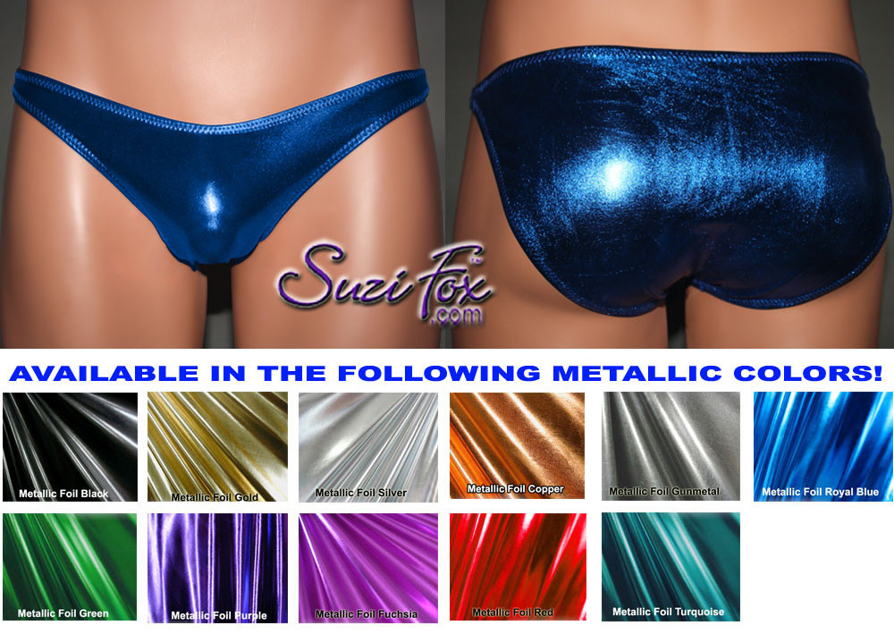 Men's Smooth Front, Wide Strap, Full rear coverage bikini- shown in Royal Blue Metallic Foil Spandex, custom made by Suzi Fox. • Available in gold, silver, copper, gunmetal, turquoise, Royal blue, red, green, purple, fuchsia, black faux leather/rubber Metallic Foil or any fabric on this site. • Standard front height is 6 inches (15.24 cm) tall. • Available in 4, 5, 6, 7, 8, 9, and 10 inch front heights. • Wear it as swimwear OR underwear! • Made in the U.S.A.