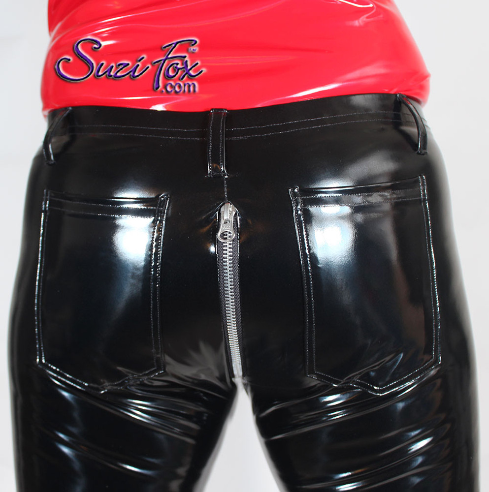 Womens 5 Zipper Leggings with crotch zipper, faux zippered pockets, and ankle zippers shown in Gloss Black Vinyl/PVC, by Suzi Fox. • Shown with 2-slider crotch zipper, but available with front only zipper. • Choice of zippers. • Choose any fabric on this site, including vinyl/PVC, metallic foil, metallic mystique, wetlook lycra Spandex, Milliskin Tricot Spandex. The vinyl/PVC is a latex alternative, great for people allergic to latex! • Optional custom sizing. • Plus size available. • 1 inch elastic at the waist. • Optional rear patch pockets. • Optional belt loops. • Worldwide shipping. • Made in the U.S.A.