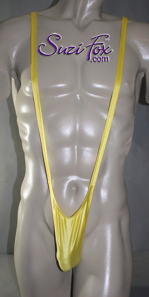 Men's Sling Thong Borat Style Mankini with Smooth Front, T-Back thong - shown in Yellow Milliskin Tricot Spandex, custom made by Suzi Fox. • Available in black, white, red, royal blue, navy blue, sky blue, turquoise, purple, green, neon green, hunter green, neon pink, neon orange, athletic gold, yellow, steel gray Miilliskin Tricot spandex. This is a 4-way extreme stretch fabric with a slight shine. Light, airy, thin, and very comfortable! Lighter colors might be slightly see through when wet.  • Also available in any fabric on this site. • Front height is 7 inches (17.8 cm). • Made in the U.S.A.