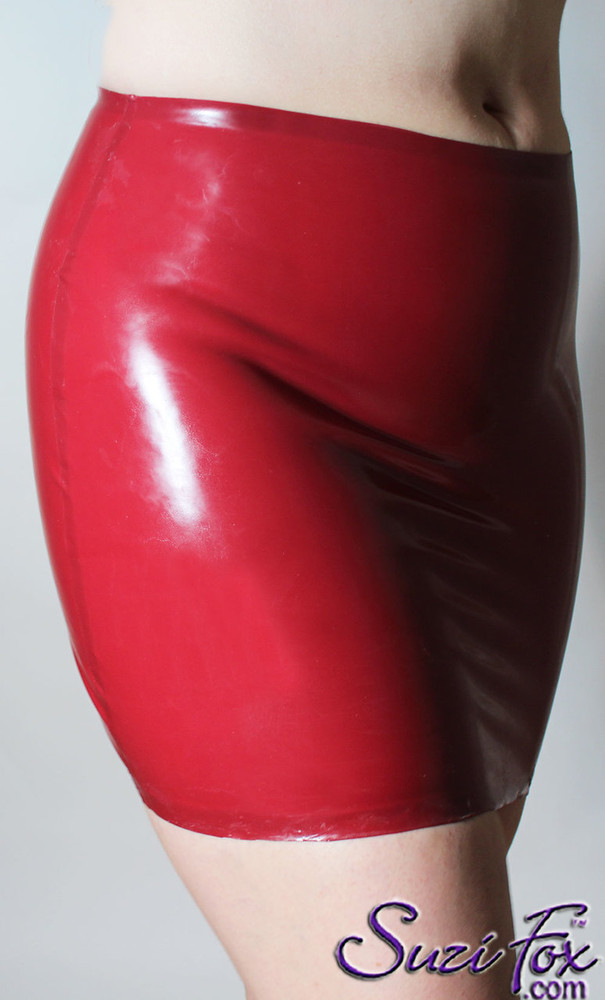 Hiphugger Micro Mini Skirt shown in Red 50mm Latex, custom made by Suzi Fox. Made in the U.S.A.