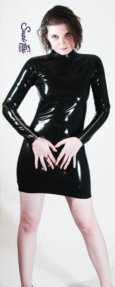 Turtleneck, Long Sleeved Mini Dress shown in Latex Rubber, custom made by Suzi Fox. • Optional wrist zippers. • Zipper in the back with zipper choices. • Custom sizing • Plus size available  Sizing may vary slightly. • Worldwide shipping. • Made in the U.S.A.