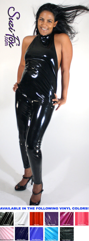 Custom Halter Top Catsuit by Suzi Fox shown in gloss black stretch vinyl/pvc coated spandex. • Available in any fabric on this site, including vinyl/PVC, metallic foil, mystique, wetlook lycra Spandex, Milliskin Tricot Spandex. • Optional Custom Sizing. • Plus size available. • Optional ankle zippers. • Worldwide shipping. • Made in the U.S.A.