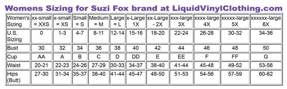 Sizing chart for standard sizes