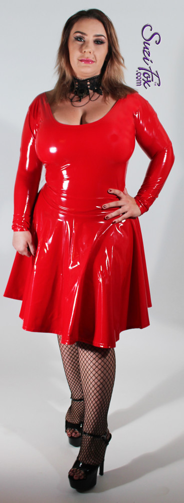 Scoop neck, flared skirt Dress shown in gloss vinyl coated spandex, by Suzi Fox.  • Zipper in the back. • Optional wrist zippers. • Choose any fabric on this site, including vinyl/PVC, metallic foil, metallic mystique, wetlook lycra Spandex, Milliskin Tricot Spandex. The vinyl/PVC is a latex alternative, great for people allergic to latex! • Custom made to your measurements. • Plus size available. • Worldwide shipping. • Made in the U.S.A.