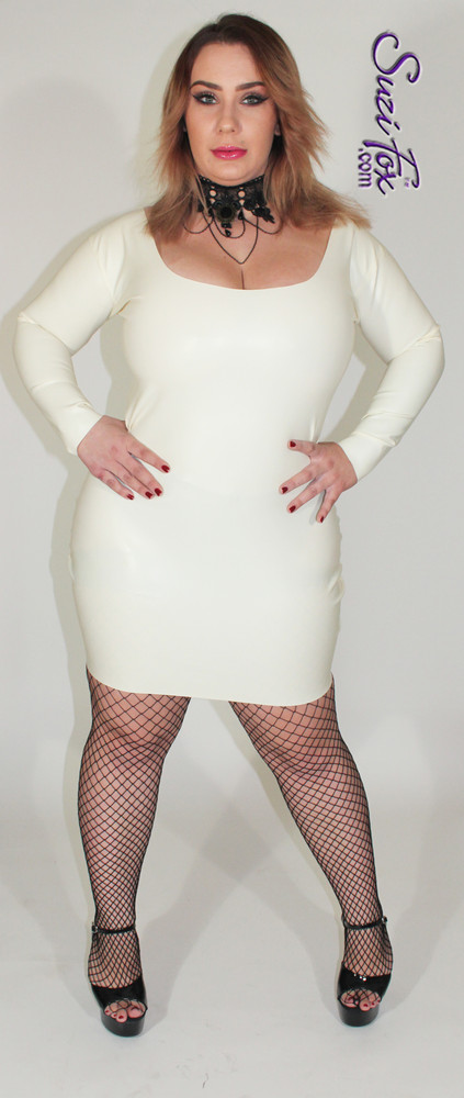 "Scoop Neck, Long Sleeved Mini Dress shown in off white unshined Latex Rubber, custom made by Suzi Fox. • Zipper in the back with zipper choices. • Optional wrist zippers. • Custom sizing • Plus size available   *Note: click ""VIDEO"" link at the bottom of this page to hear the **butt slap** sound Latex makes.  Sizing may vary slightly. • Worldwide shipping. • Made in the U.S.A."