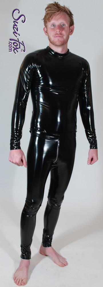 Mens Long Sleeve Tee Shirt shown in Gloss Black Vinyl/PVC Spandex, custom made by Suzi Fox. Shown with Mens 2-slider Crotch Zipper pants.