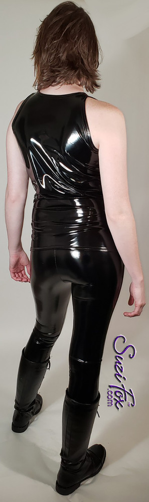 'Trinity' from the Matrix style muscle tee shown in Black gloss vinyl, custom made by Suzi Fox. Custom made to your measurements! Made in the U.S.A.