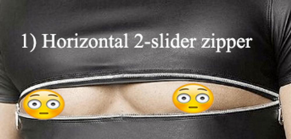 One 2-slider zipper horizontal across the front chest