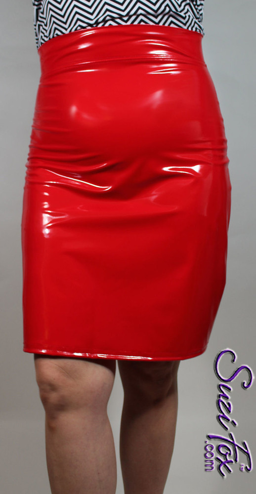 Pencil Skirt with grommet lacing, shown in Red Vinyl/PVC Spandex, custom made by Suzi Fox.  Custom made to your measurements! Available in any fabric on this site. Made in the U.S.A.