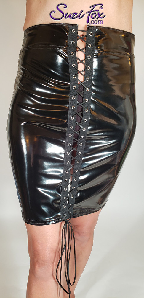 Pencil Skirt with front grommet lacing, shown in Black Vinyl/PVC Spandex, custom made by Suzi Fox.  Custom made to your measurements! Available in any fabric on this site. Made in the U.S.A.