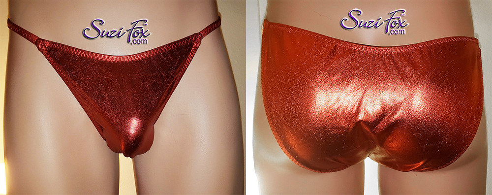 Mens Smooth Front, Skinny Strap, Brazilian (3/4 rear coverage) Bikini - shown in Red Metallic Foil Spandex, custom made by Suzi Fox. • Available in gold, silver, copper, gunmetal, turquoise, Royal blue, red, green, purple, fuchsia, black faux leather/rubber Metallic Foil or any fabric on this site. • Standard front height is 8 inches (20.3 cm). • Available in 4, 5, 6, 7, 8, 9, and 10 inch front heights. • Wear it as swimwear OR underwear! • Made in the U.S.A.