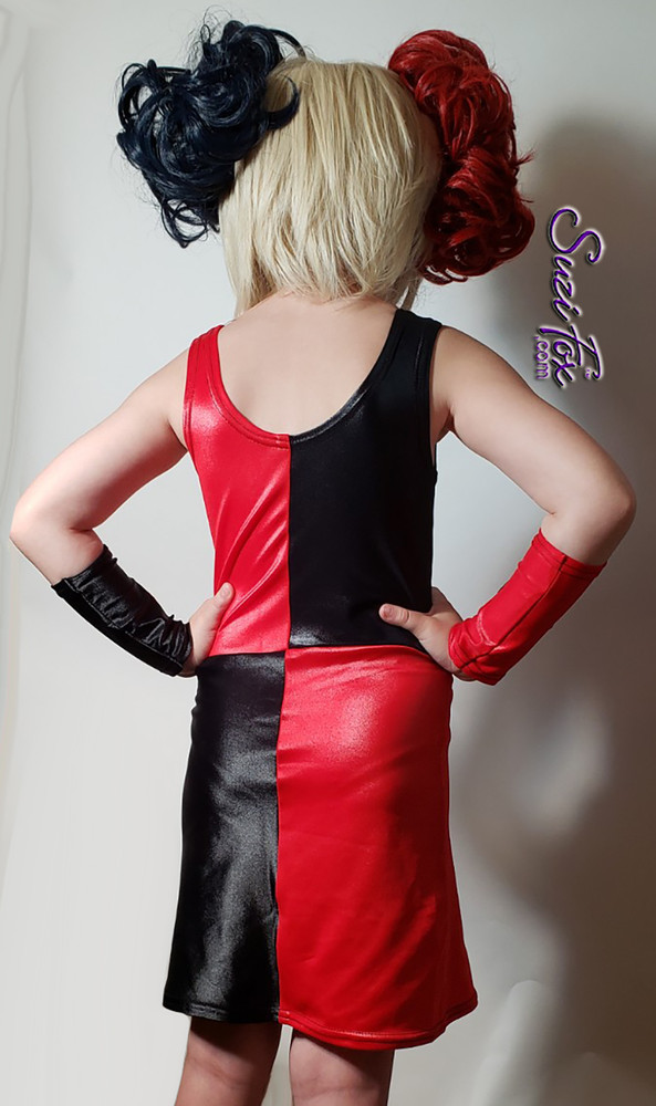 Child size Harley Quinn Tank dress, including arm guards. Wig not included. Custom made when you order it by Suzi Fox.