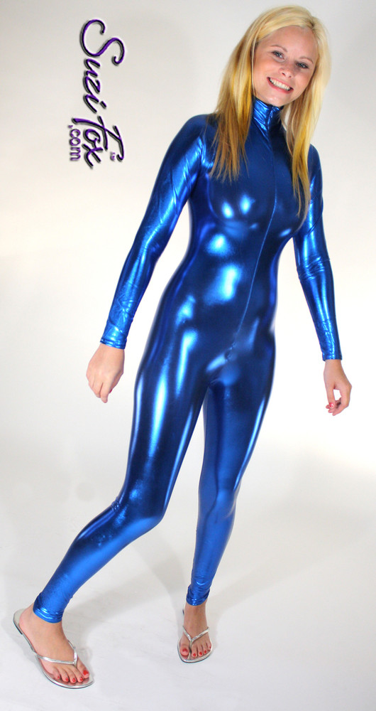 """Custom Catsuit by Suzi Fox shown in Royal Blue metallic foil coated Nylon Spandex.  You can order this Catsuit in almost any fabric on this site.  • Available in gold, silver, copper, royal blue, purple, turquoise, red, green, fuchsia, gun metal, black faux leather/rubber Metallic foil coated spandex. • Your choice of front or back zipper (front zipper shown). • Optional 1 or 2-slider crotch zipper, and """"Selene"""" from Underworld TS Brass zipper, or aluminum circular slider zipper like Catwoman comic characters. • Optional wrist zippers • Optional ankle zippers • Optional finger loops • Optional rear patch pockets • Made in the U.S.A."""