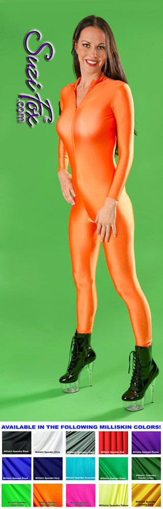 """Custom Catsuit by Suzi Fox shown in Neon Orange Milliskin Tricot Spandex.  You can order this Catsuit in almost any fabric on this site.  • Available in black, red, white, navy blue, royal blue, sky blue, turquoise, hunter green, green, neon green, neon pink, neon orange, athletic gold, lemon yellow, steel gray, purple. This is a light, thin, airy, 4-way stretch fabric with very little shine. • Your choice of front or back zipper (front zipper shown). • Optional 1 or 2-slider crotch zipper, and """"Selene"""" from Underworld TS Brass zipper, or aluminum circular slider zipper like Catwoman comic characters. • Optional wrist zippers • Optional ankle zippers • Optional finger loops • Optional rear patch pockets • Made in the U.S.A."""