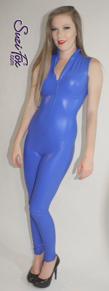 """Sleeveless Catsuit custom made by Suzi Fox shown in Royal Blue Spandex.  • You can choose any fabric on this site, including vinyl/PVC, Metallic Foil, Metallic Mystique, Wetlook Lycra Spandex, Milliskin Tricot Spandex. The vinyl/PVC is a latex alternative, great for people allergic to latex! • Custom Sizing available. • Plus size available. • Optional 1 or 2-slider crotch zipper. • Optional """"Selene"""" from Underworld TS zipper. • Optional ankle zippers. • Worldwide shipping. • Made in the U.S.A"""