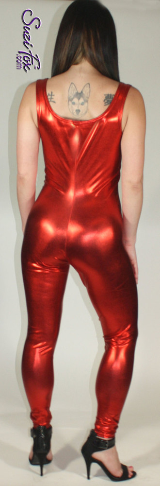 Custom Tank Style Catsuit by Suzi Fox shown in Royal Blue Metallic Foil coated spandex.  You can order this Catsuit in almost any fabric on this site.  • Available in gold, silver, copper, royal blue, purple, turquoise, red, green, fuchsia, gunmetal, black faux leather/rubber look. This is a stretch metallic foil, 4-way stretch fabric with a brilliant shine. • Optional ankle zippers • Made in the U.S.A.