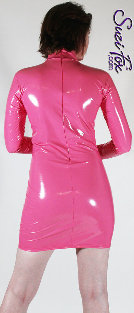 Turtleneck, Long Sleeved Mini Dress in Gloss Neon Pink Vinyl coated Nylon Spandex, custom made by Suzi Fox. Zipper in the back. Choose any fabric on this site! Available in black, white, red, navy blue, royal blue, turquoise, purple, fuchsia, neon pink, light pink, matte black (no shine), matte white (no shine) stretch vinyl/PVC coated nylon spandex. • Optional 2-slider zipper going the length of the dress, front or back, unzip from the top of the bottom! • Optional wrist zippers. Made in the U.S.A.