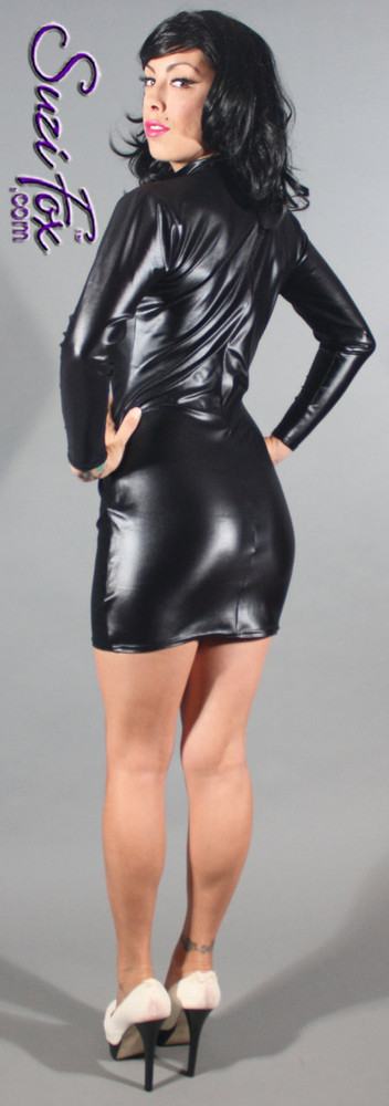 Turtleneck, Long Sleeved Mini Dress in Black Wet look Lycra Spandex, custom made by Suzi Fox. Zipper in the back. Choose any fabric on this site! Available in black, white, red, navy blue, hot pink, turquoise, lime green, green, yellow, royal blue, steel gray, neon orange lycra spandex. This is a 4-way stretch fabric with a medium shine. Very comfortable. • Optional 2-slider zipper going the length of the dress, front or back, unzip from the top of the bottom! • Optional bust cutout. • Optional wrist zippers. Made in the U.S.A.