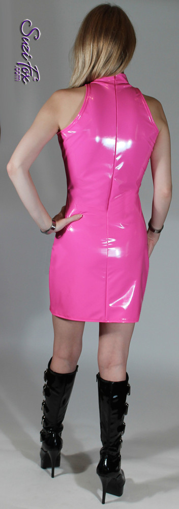 Open/cold Shoulder Mini Dress in Shiny Gloss Neon Pink Vinyl/PVC Spandex by Suzi Fox. Zipper in the back. Choose any fabric on this site! Available in black, white, red, navy blue, royal blue, turquoise, purple, fuchsia, neon pink, light pink, matte black (no shine), matte white (no shine) stretch vinyl/PVC coated nylon spandex. Made in the U.S.A.