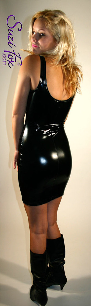 Tank Mini Dress in Shiny Gloss Black Vinyl/PVC Spandex by Suzi Fox. Choose any fabric on this site! Available in black, white, red, navy blue, royal blue, turquoise, purple, fuchsia, neon pink, light pink, matte black (no shine), matte white (no shine) stretch vinyl/PVC coated nylon spandex. Made in the U.S.A.