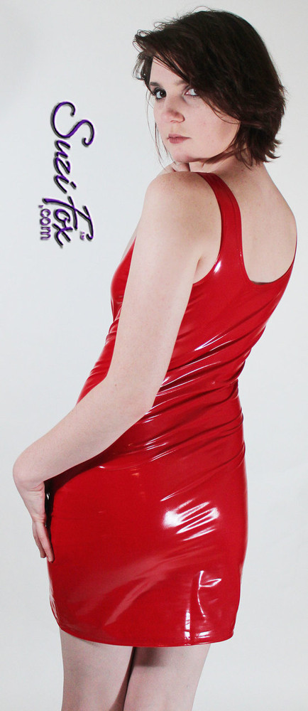 Tank Mini Dress in Shiny Gloss Red Vinyl/PVC Spandex by Suzi Fox. Choose any fabric on this site! Available in black, white, red, navy blue, royal blue, turquoise, purple, fuchsia, neon pink, light pink, matte black (no shine), matte white (no shine) stretch vinyl/PVC coated nylon spandex. Made in the U.S.A.
