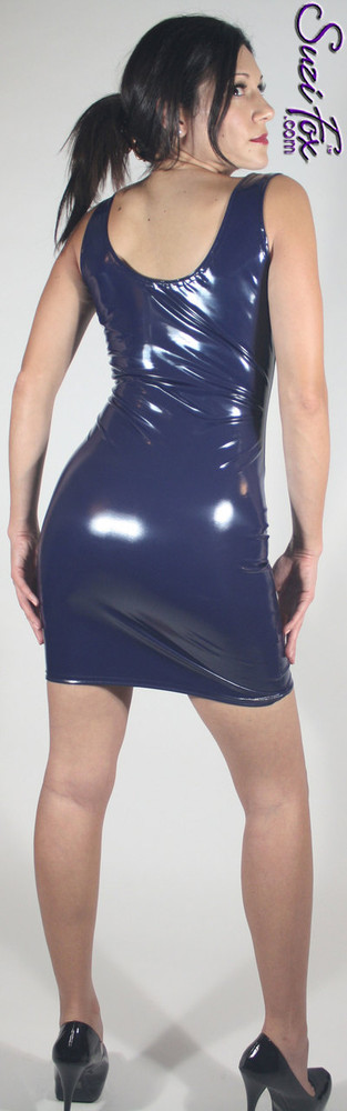 Tank Mini Dress in Shiny Gloss Navy Blue Vinyl/PVC Spandex by Suzi Fox. Choose any fabric on this site! Available in black, white, red, navy blue, royal blue, turquoise, purple, fuchsia, neon pink, light pink, matte black (no shine), matte white (no shine) stretch vinyl/PVC coated nylon spandex. Made in the U.S.A.