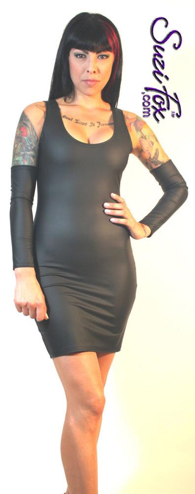 Tank Mini Dress in Matte Black (no shine) Vinyl/PVC Spandex by Suzi Fox. Choose any fabric on this site! Available in matte black (no shine), matte white (no shine), gloss black, white, red, navy blue, royal blue, turquoise, purple, fuchsia, neon pink, light pink, stretch vinyl/PVC coated nylon spandex. Made in the U.S.A.