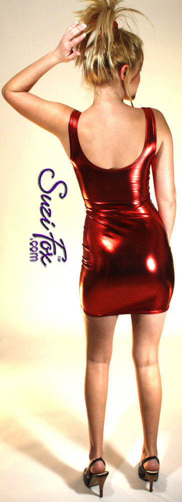 Tank Mini Dress in Red Metallic Foil coated Spandex by Suzi Fox. Choose any fabric on this site! Available in black metallic faux leather/rubber, gold, silver, copper, royal blue, purple, turquoise, red, green, fuchsia, gun metal metallic foil coated nylon spandex. • Optional 2-slider zipper going the length of the dress, front or back, unzip from the top of the bottom! Made in the U.S.A.