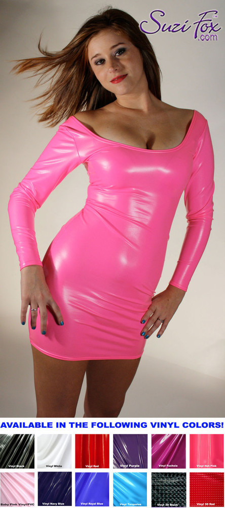 48f1106b26b5 Scoop Neck, Long Sleeved Mini Dress in Neon Pink Shiny Gloss Vinyl/PVC  Spandex ...