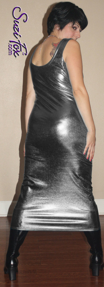 Tank Maxi Dress in Gun Metal Metallic Foil coated Spandex by Suzi Fox. Choose any fabric on this site! Custom made to your measurements. Available in black metallic faux leather/rubber, gold, silver, copper, royal blue, purple, turquoise, red, green, fuchsia, gun metal metallic foil coated nylon spandex. Made in the U.S.A.