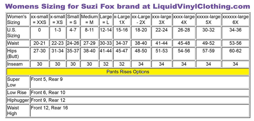 Womens standard sizing chart. For custom Womens pants and leggings, go to  http://liquidvinylclothing.com/CustomWomensLeggings/