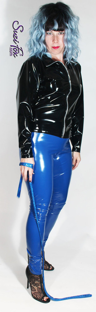 Womens Leggings shown in Royal Blue Gloss vinyl/PVC, custom made by Suzi Fox.  You can order this in almost any fabric on this site.  • Custom made to your measurements! • Available in black, red, white, light pink, neon pink, fuchsia, purple, royal blue, navy blue, turquoise, black matte (no shine), white matte (no shine) stretch vinyl coated spandex. • 1 inch elastic at the waist. • Optional 1 or 2-slider crotch zipper. • Optional ankle zippers • Optional rear patch pockets • Optional belt loops • Made in the U.S.A.