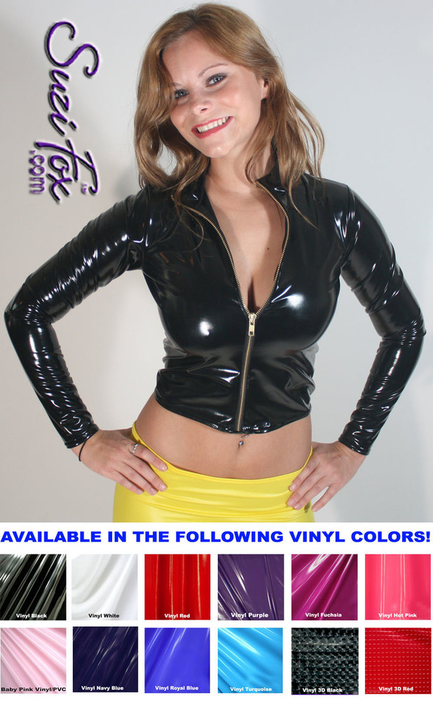 Womens Crop Jacket in Black Gloss Vinyl/PVC Spandex, custom made by Suzi Fox. Custom made to your measurements! • Choose any fabric on this site. • Available in black, white, red, navy blue, royal blue, turquoise, purple, fuchsia, neon pink, light pink, matte black (no shine), matte white (no shine) stretch vinyl/PVC coated nylon spandex. • Your choice of zippers. • Optional wrist zippers. Made in the U.S.A.