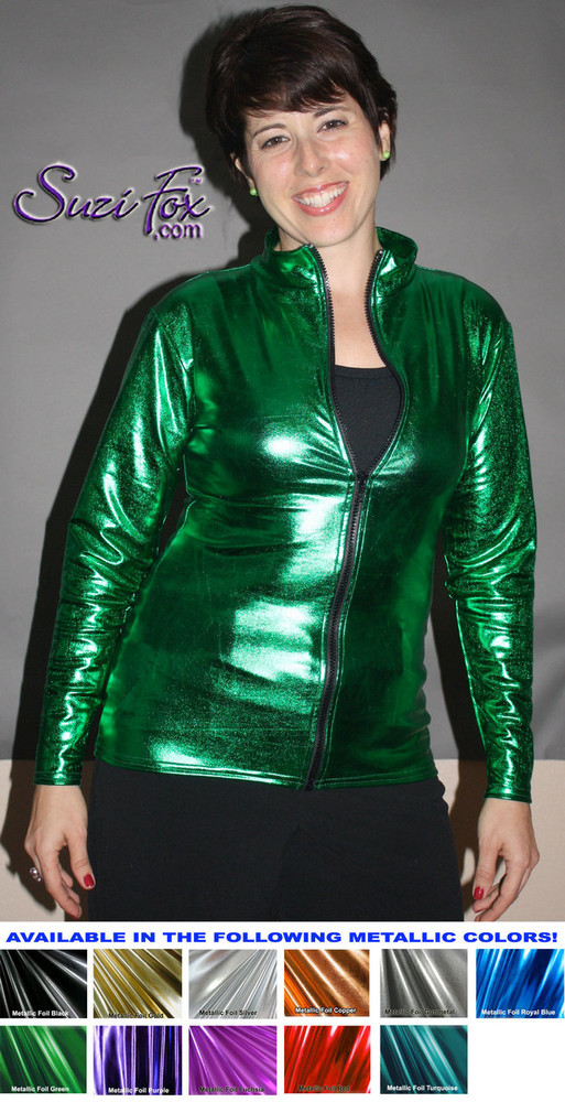 Womens Crop Jacket shown in Green Metallic Foil coated, custom made by Suzi Fox. Custom made to your measurements! Choose any fabric on this site! Available in gold, silver, copper, gunmetal, turquoise, Royal blue, red, green, purple, fuchsia, black faux leather/rubber. • Choose the zipper. • Optional wrist zippers. Made in the U.S.A.