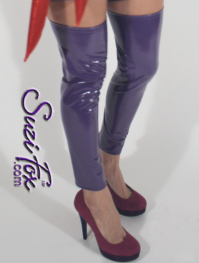 Leg Coverings/Leg Warmers shown in Purple Gloss Vinyl/PVC custom made by Suzi Fox. Available in black, white, red, navy blue, royal blue, turquoise, purple, Neon Pink, fuchsia, light pink, matte black (no shine), matte white (no shine), black 3D Prism, red 3D Prism, Turquoise 3D Prism, Baby Blue 3D Prism, Hot Pink 3D Prism or any fabric on this site. Made in the U.S.A.