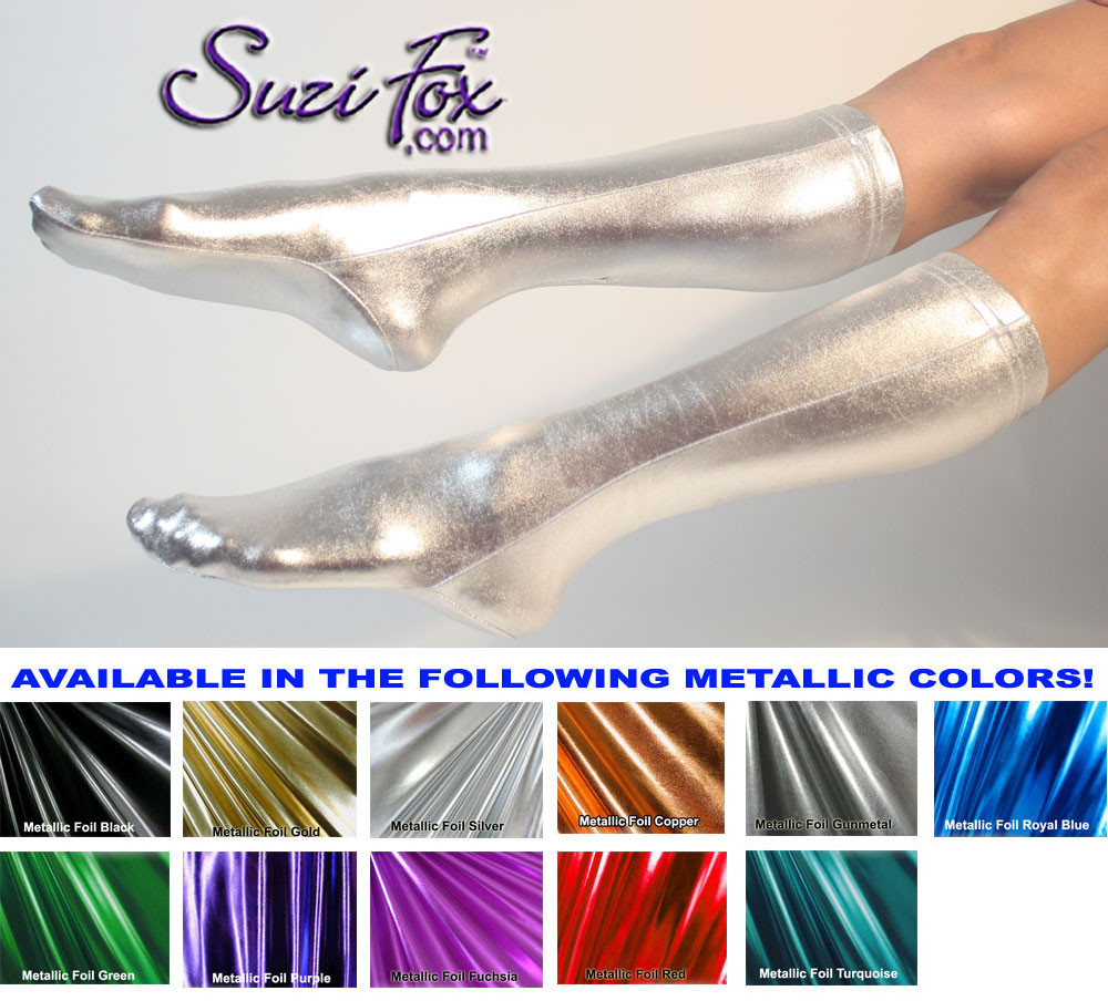 Custom Stockings shown in Silver Metallic Foil custom made by Suzi Fox. 1 inch elastic at the top. You can choose different colors for each leg. Available in gold, silver, copper, gunmetal, turquoise, Royal blue, red, green, purple, fuchsia, black faux leather/rubber. or any fabric on this site. Made in the U.S.A.