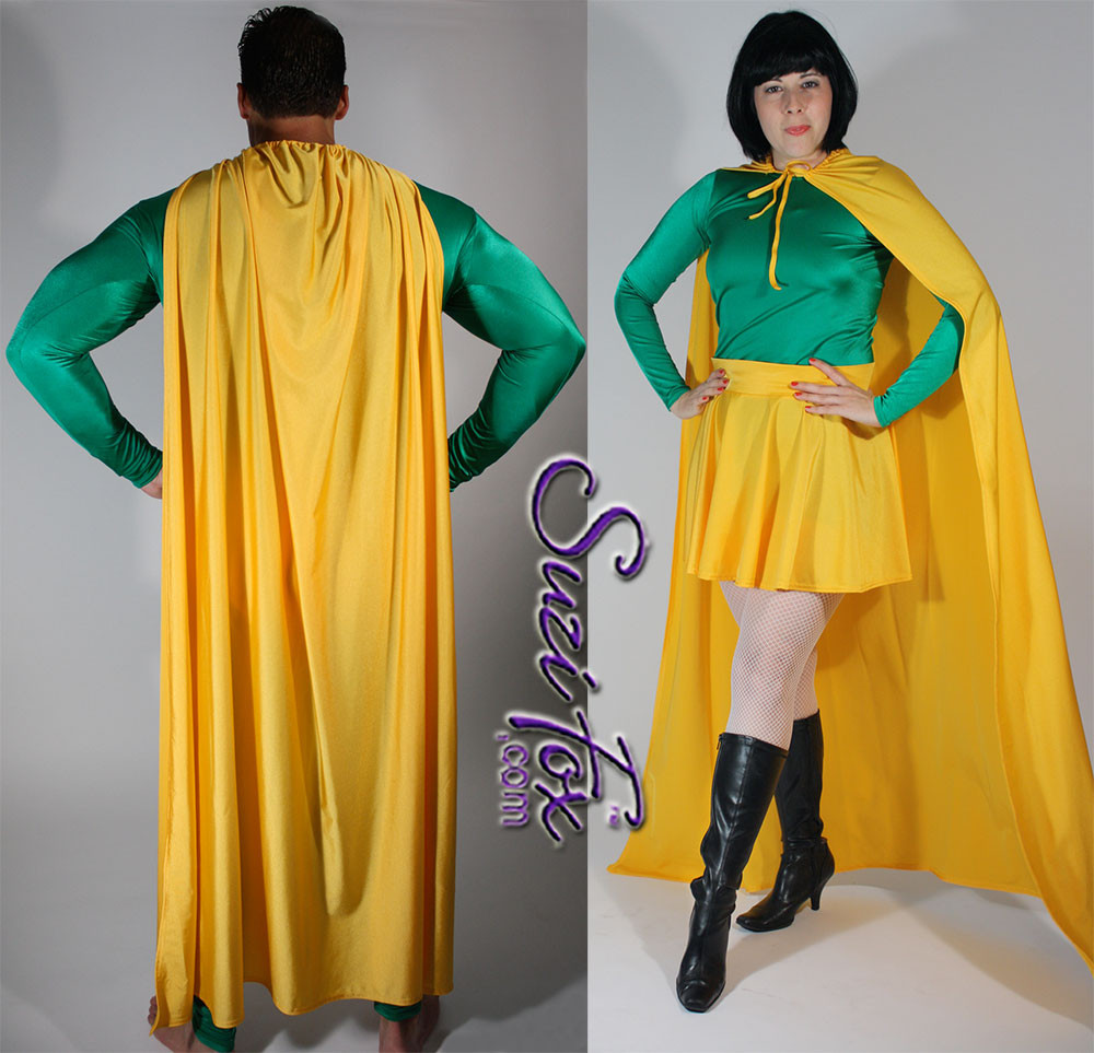 Superhero Cape shown in Athletic Gold Shiny Milliskin Tricot Nylon Spandex, custom made by Suzi Fox. You can order this in almost any fabric on this site. • Available in black, white, red, royal blue, sky blue, turquoise, purple, green, neon green, hunter green, neon pink, neon orange, athletic gold, lemon yellow, steel gray Miilliskin Tricot spandex. This is a 4-way extreme stretch fabric with a slight shine. Light, airy, thin, and very comfortable! • String tie around the neck. • Made in the U.S.A.