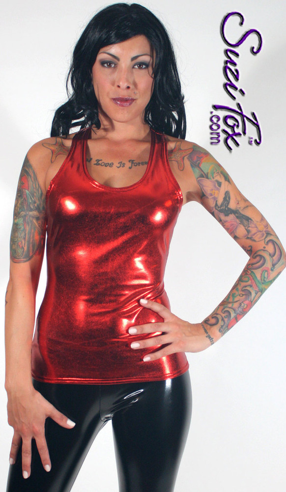 Womens Racerback Shirt in Red Metallic Foil coated Spandex, custom made by Suzi Fox. Custom made to your measurements! Choose any fabric on this site! Available in gold, silver, copper, gunmetal, turquoise, Royal blue, red, green, purple, fuchsia, black faux leather/rubber. Made in the U.S.A.