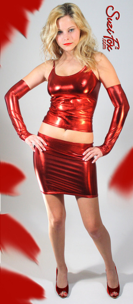 Camisole Top with Spaghetti Straps in Red Metallic Foil coated Spandex, custom made by Suzi Fox. Custom made to your measurements! Choose any fabric on this site! Available in gold, silver, copper, gunmetal, turquoise, Royal blue, red, green, purple, fuchsia, black faux leather/rubber. Made in the U.S.A.