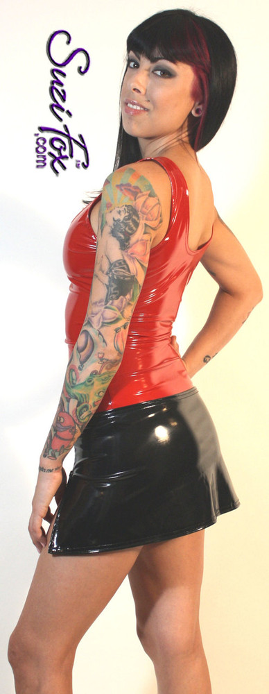 Womens Tank Top shown in Red Vinyl/PVC Spandex, custom made by Suzi Fox. Custom made to your measurements! Available in black, white, red, navy blue, royal blue, turquoise, purple, Neon Pink, fuchsia, light pink, matte black (no shine), matte white (no shine), black 3D Prism, red 3D Prism, Turquoise 3D Prism, Baby Blue 3D Prism, Hot Pink 3D Prism, and any other fabric on this site. Made in the U.S.A.